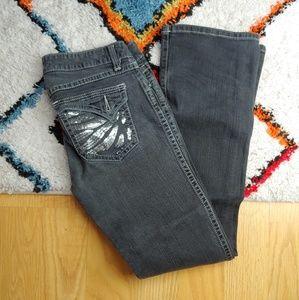 Rock 47 Wrangler Sequin Pocket Bootleg Jeans